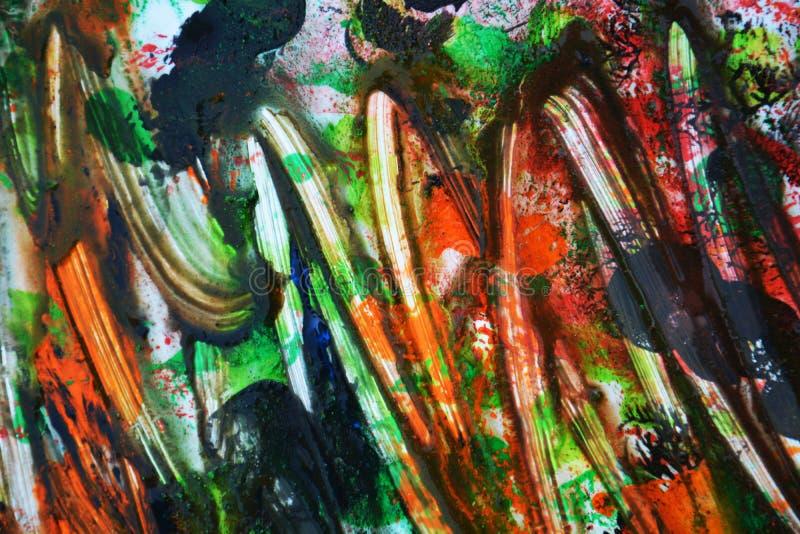 Абстрактная оранжевая голубая предпосылка краски, мягкие цвета смешивания, крася пятнает предпосылку, предпосылку акварели красоч стоковая фотография rf