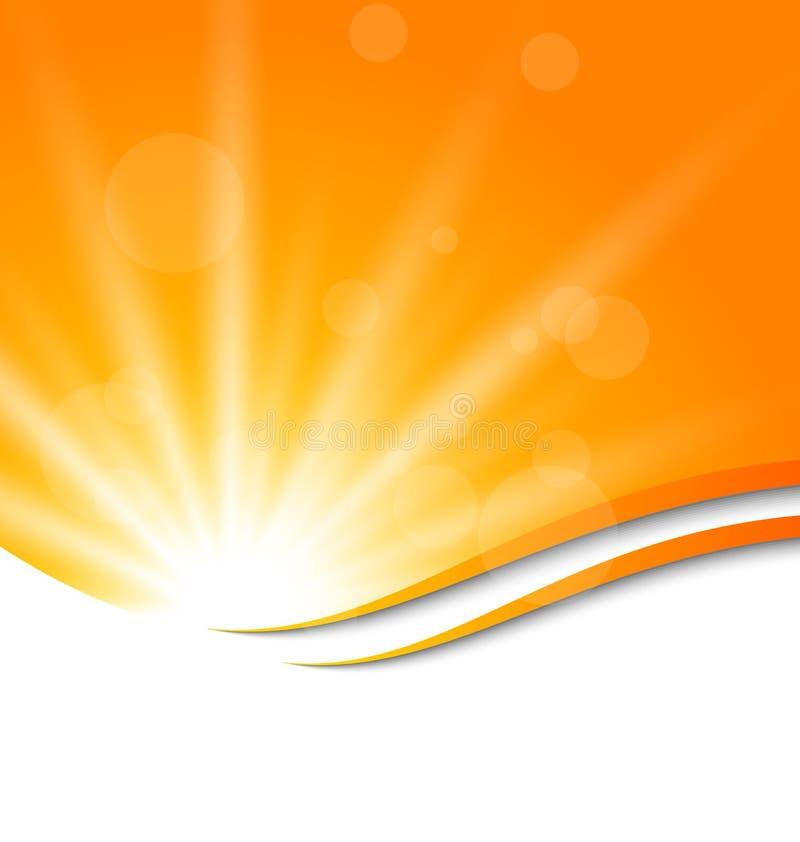 Абстрактная оранжевая предпосылка с световыми лучами солнца иллюстрация вектора