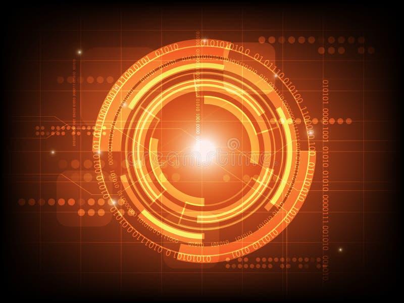 Абстрактная оранжевая предпосылка цифровой технологии круга, футуристическая предпосылка концепции элементов структуры иллюстрация штока