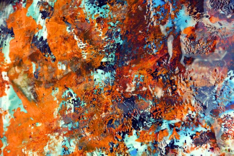 Абстрактная оранжевая фиолетовая голубая предпосылка краски, крася предпосылка акварели, крася абстрактные цвета стоковые изображения rf