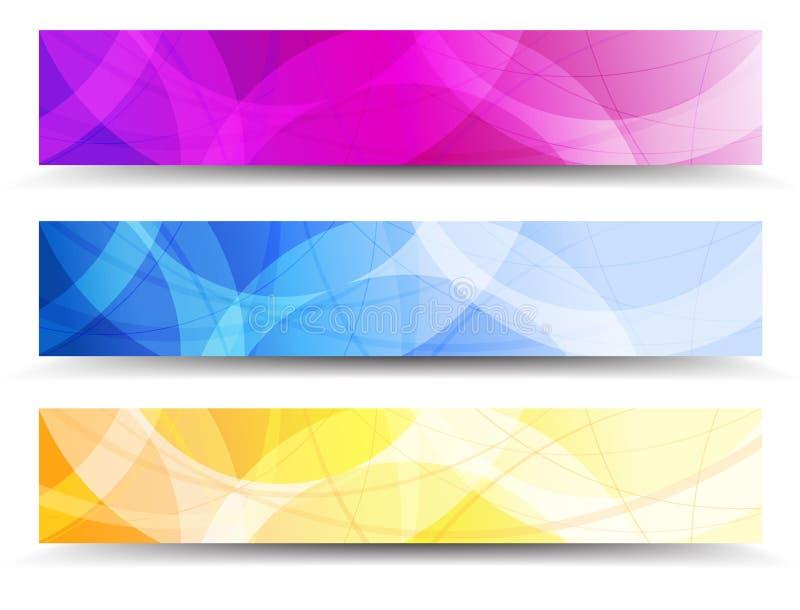 Абстрактная оранжевая фиолетовая и голубая предпосылка знамен сети иллюстрация вектора