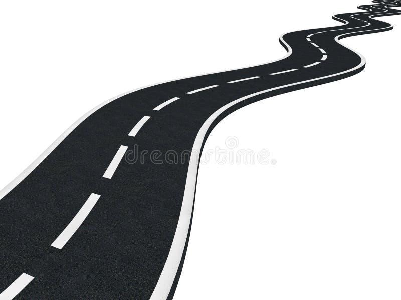 Изогнутая изолированная дорога асфальта иллюстрация вектора