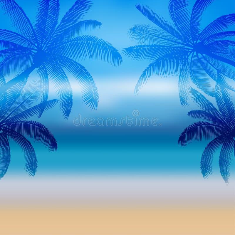 Абстрактная пальма силуэта в плоском дизайне значка и море в полдень иллюстрация вектора