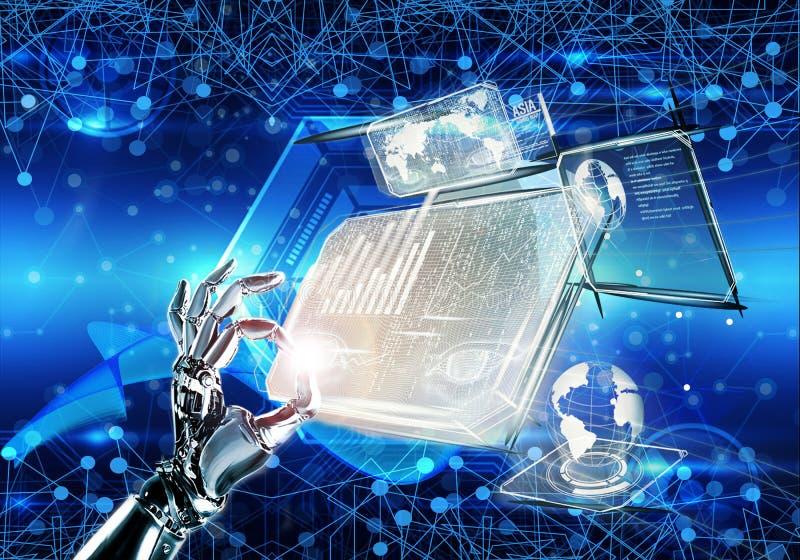 Абстрактная пестротканая иллюстрация 3d изолированной руки машины на футуристической предпосылке hologram бесплатная иллюстрация