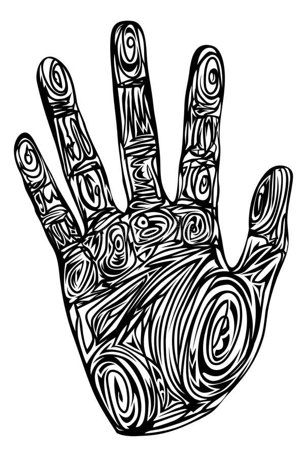 абстрактная печать картины руки иллюстрация штока