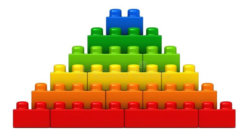 Абстрактная пирамида от пластичных строительных блоков иллюстрация вектора