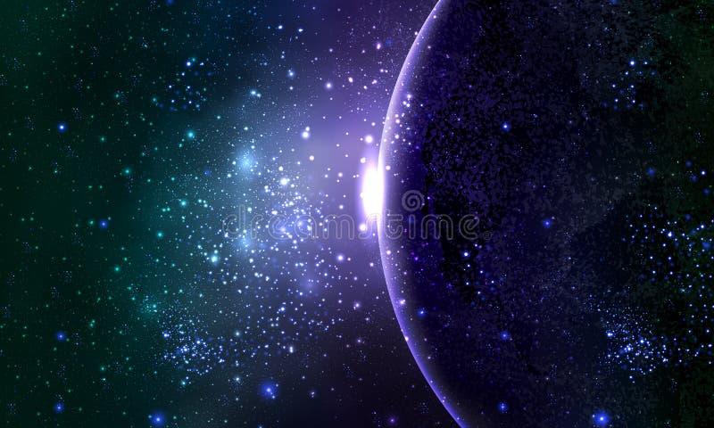 Абстрактная планета в небе звездной ночи иллюстрация штока