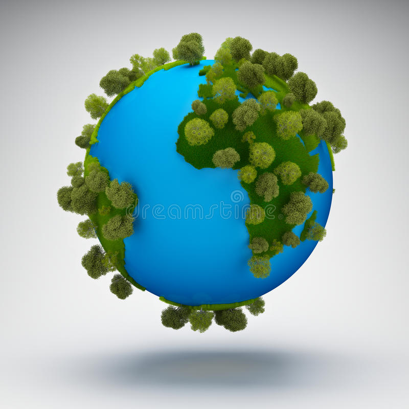 абстрактная планета зеленого цвета земли иллюстрация вектора