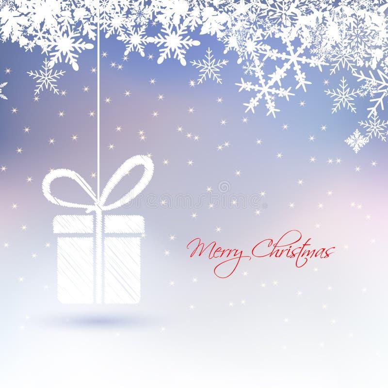 Абстрактная поздравительная открытка рождества с подарочной коробкой, снежинками, звездой на замороженной предпосылке бесплатная иллюстрация