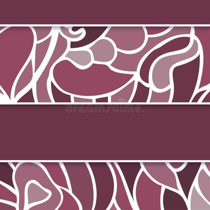 Абстрактная поздравительная открытка сирени с поводами свирлей иллюстрация штока