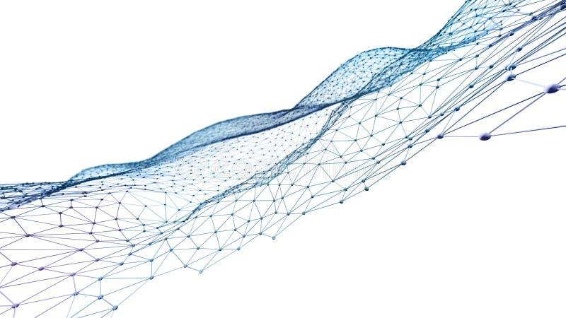 Абстрактная полигональная предпосылка 3D представило поверхность в перспективе иллюстрация штока