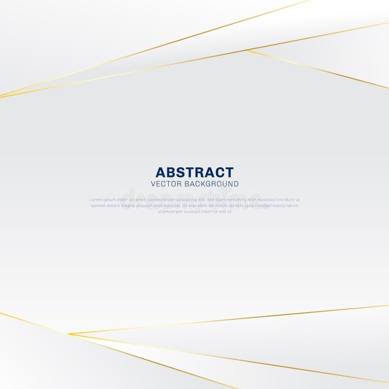 Абстрактная полигональная роскошь картины на белой и серой предпосылке заголовка с золотыми линиями иллюстрация вектора