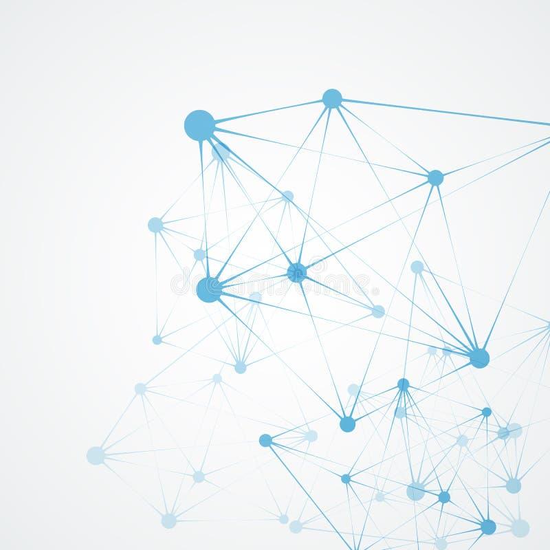 Абстрактная полигональная сеть формирует с соединяясь точками и линиями Предпосылка науки и техники иллюстрация вектора