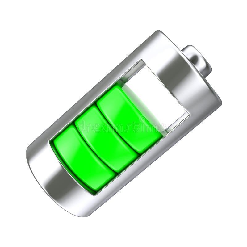 Абстрактная поручая батарея с уровнем зеленой обязанности перевод 3d иллюстрация штока
