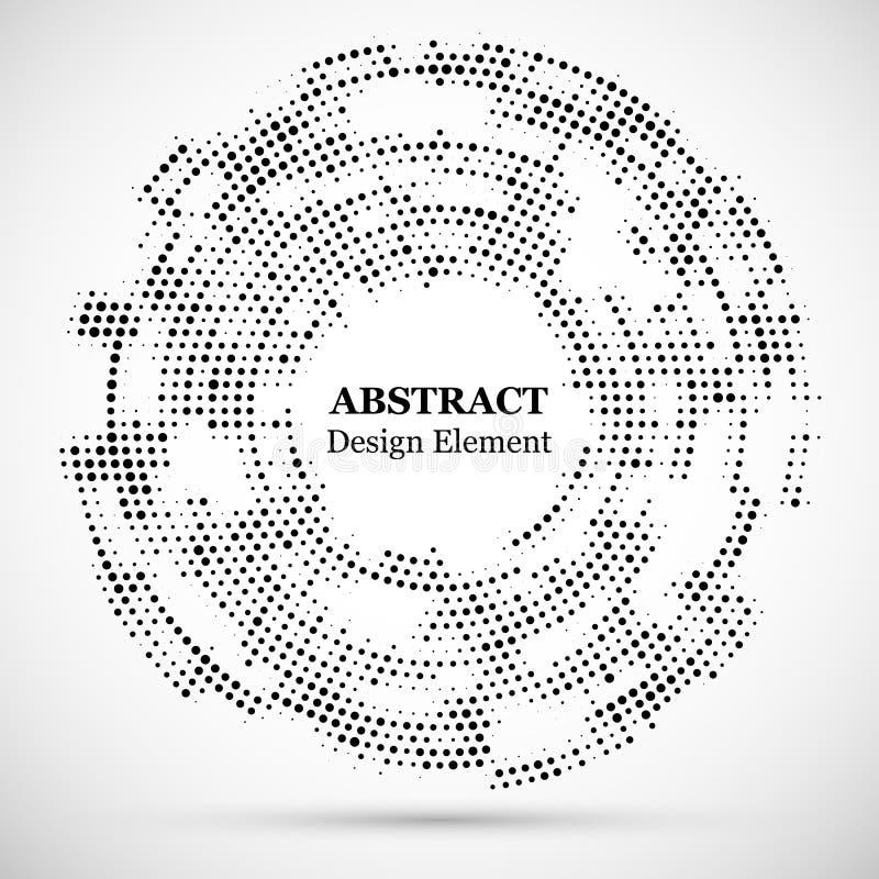 Абстрактная поставленная точки предпосылка картины полутонового изображения современная Элементы круга черного декоративного полу бесплатная иллюстрация