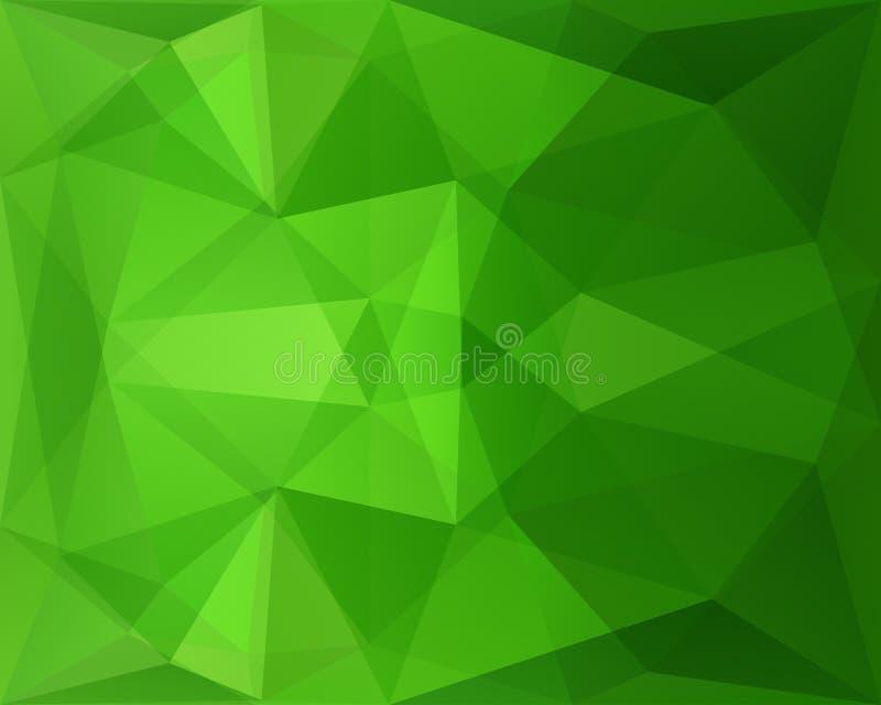 Абстрактная полигональная геометрическая предпосылка с зеленой текстурой треугольника иллюстрация вектора