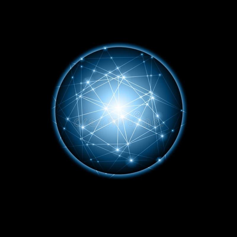 абстрактная предпосылка Абстрактный накаляя шарик, линии связи, абстрактный символ интернета, сообщение, технология бесплатная иллюстрация