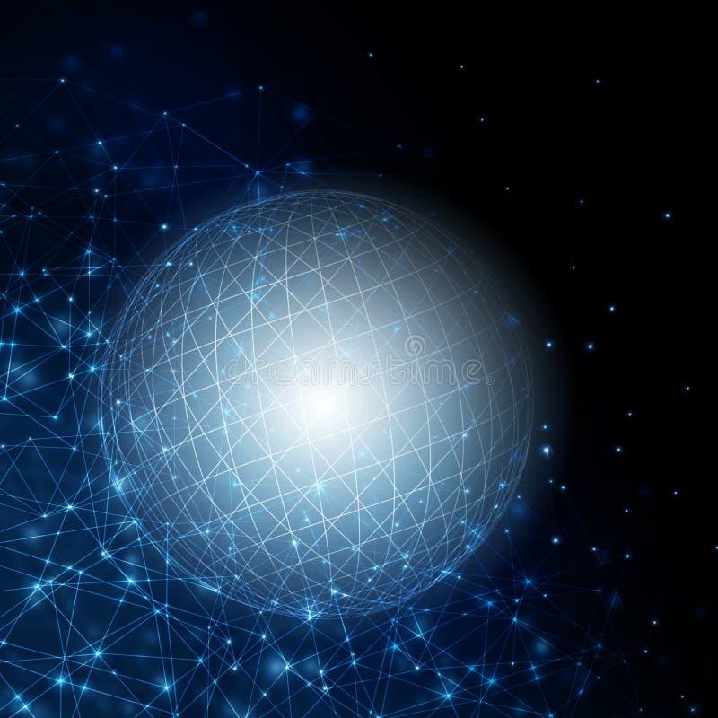 абстрактная предпосылка Абстрактный накаляя шарик, линии связи, абстрактный символ интернета, сообщение, технология иллюстрация вектора