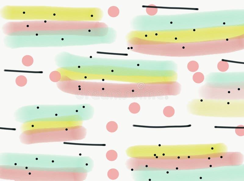 Абстрактная предпосылка акварели с ходами пинка, желтых и голубых щетки бесплатная иллюстрация