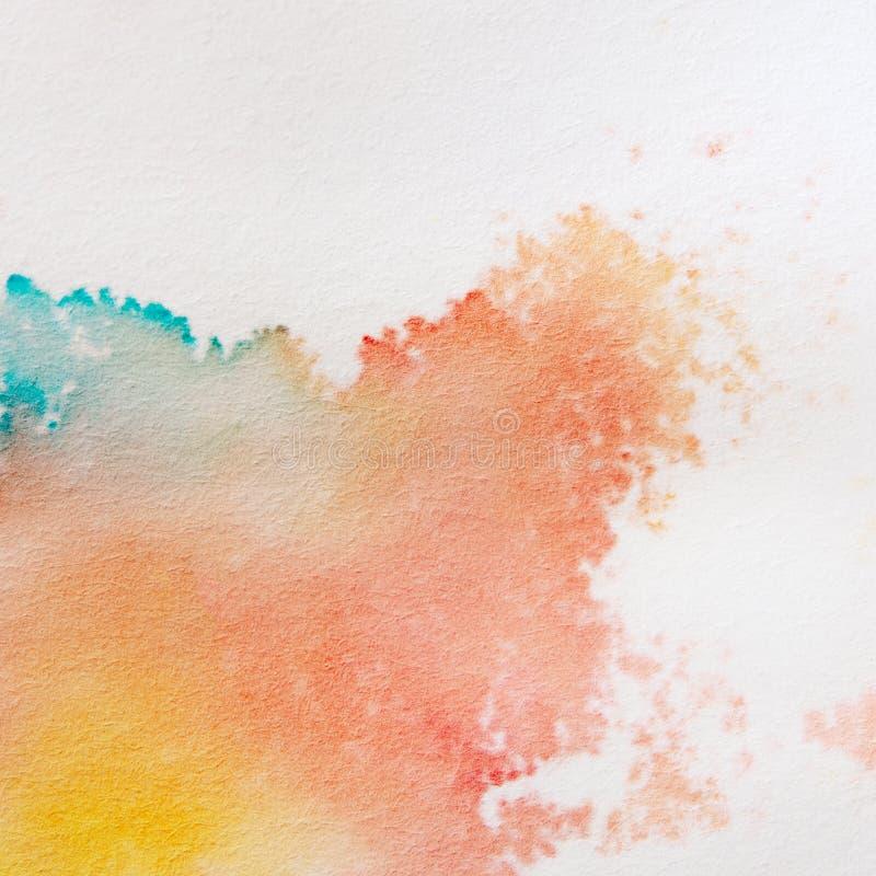 Абстрактная предпосылка акварели Яркое красочное искусство краски руки на предпосылке белой бумаги стоковая фотография