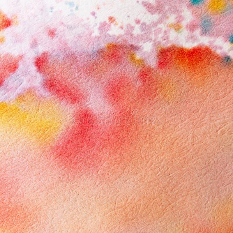 Абстрактная предпосылка акварели Яркое красочное искусство краски руки на предпосылке белой бумаги стоковые фотографии rf