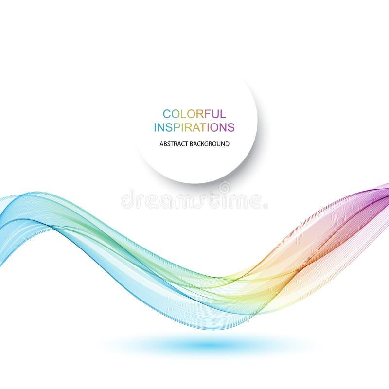 Абстрактная предпосылка вектора волны, радуга развевала линии для брошюры, вебсайта, дизайна рогульки Волна спектра Цвет радуги иллюстрация вектора