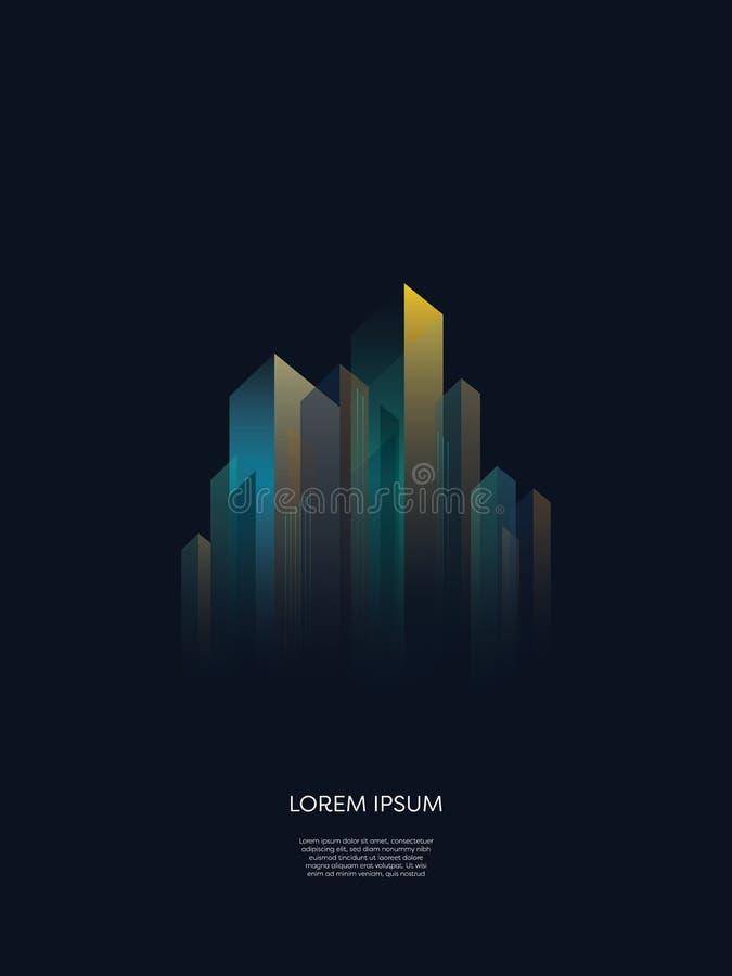 Абстрактная предпосылка вектора горизонта городского пейзажа ночи Геометрические формы зданий, небоскребов в перспективе Неоновый иллюстрация вектора