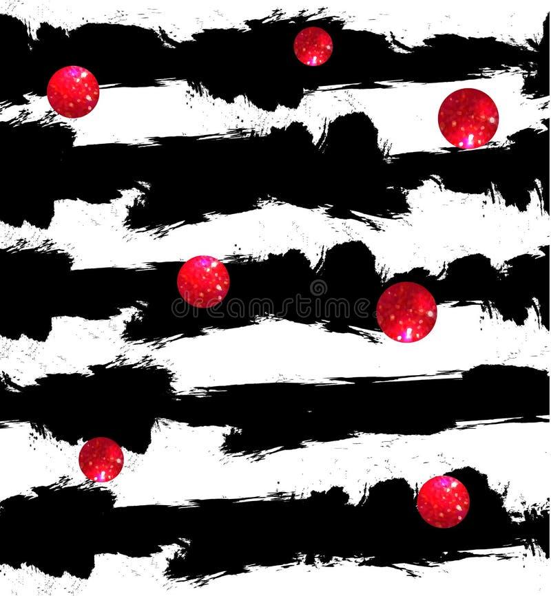 Абстрактная предпосылка ВЕКТОРА, черно-белые нашивки зебры Красная блестящая картина кругов бесплатная иллюстрация