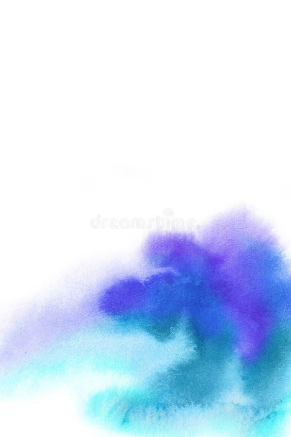 абстрактная предпосылка Выплеск акварели рисовал вручную синь, p стоковая фотография