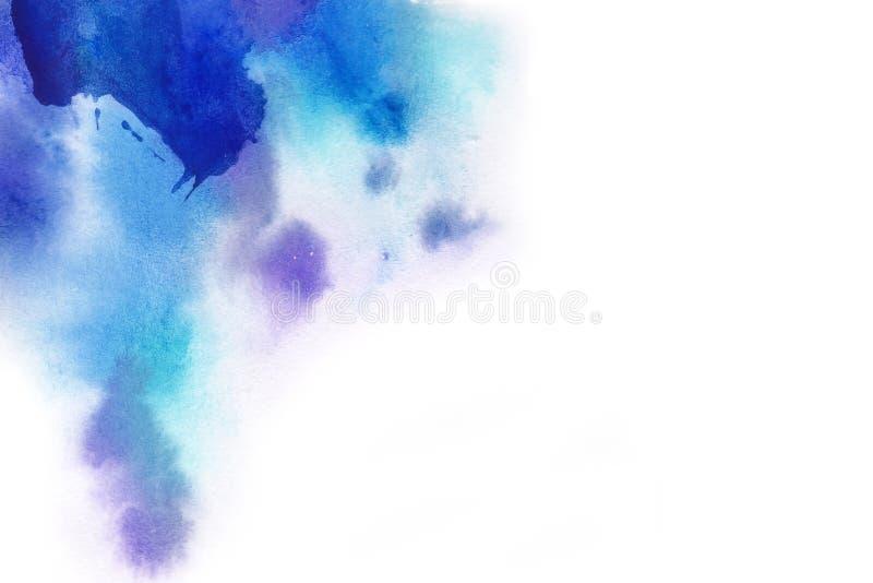 абстрактная предпосылка Выплеск акварели рисовал вручную синь, p стоковая фотография rf