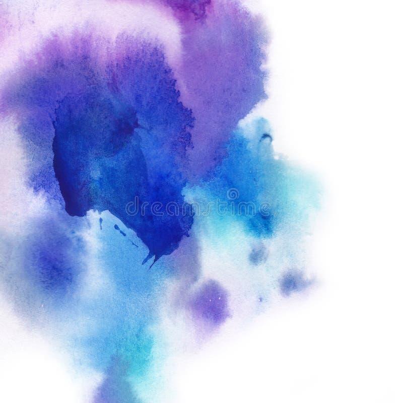 абстрактная предпосылка Выплеск акварели рисовал вручную синь, p стоковые фотографии rf