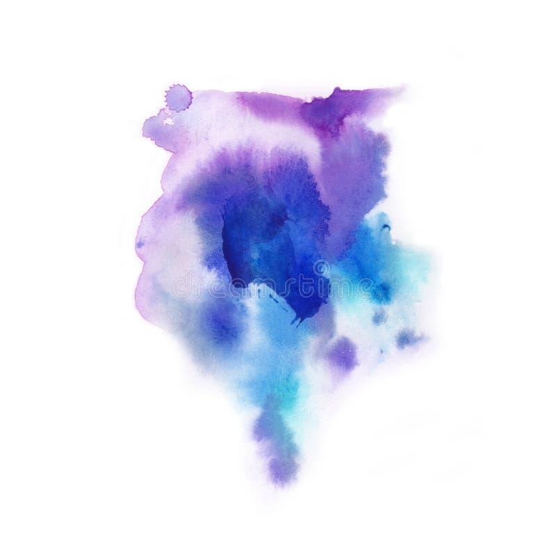 абстрактная предпосылка Выплеск акварели рисовал вручную синь, p стоковое изображение