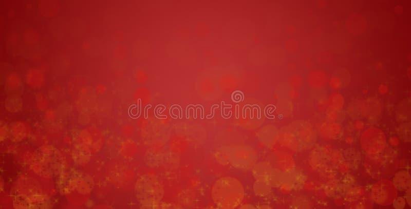Абстрактная предпосылка в красном и золотом Счастливый день Валентайн Поздравительная открытка рождества с космосом Bokeh и влиян иллюстрация вектора