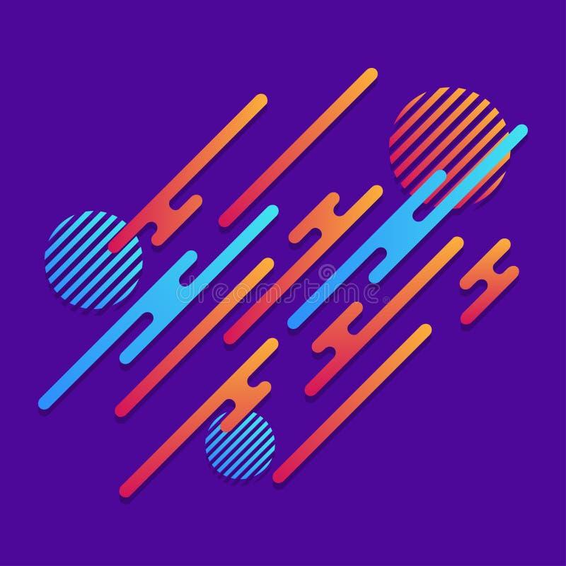 абстрактная предпосылка геометрическая динамически картина Округленные раскосные линии с кругами и градиентом предпосылка ультрам иллюстрация вектора