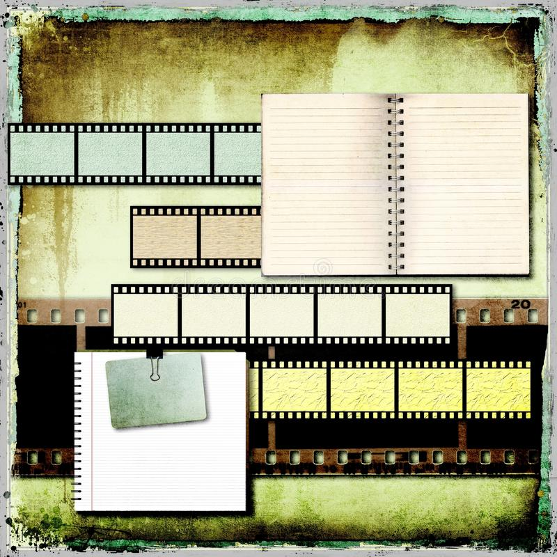 Абстрактная предпосылка год сбора винограда с старыми открытыми книгами и прокладкой фильма. бесплатная иллюстрация