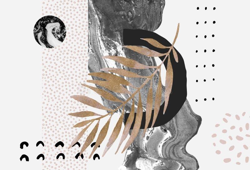 Абстрактная предпосылка: динамическая мраморизуя подача, минимальные формы, лоснистые золотые тропические лист иллюстрация штока