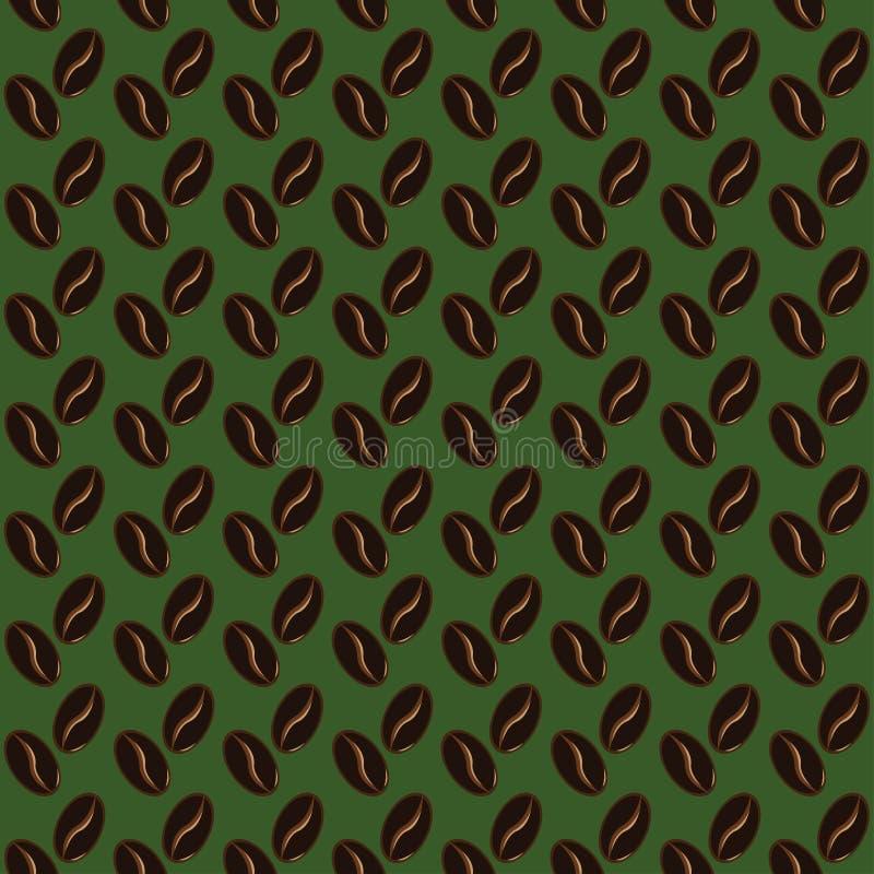 Абстрактная предпосылка зеленого цвета картины кофейных зерен иллюстрация штока
