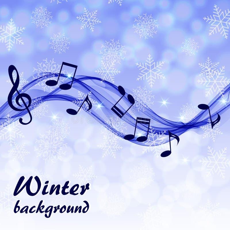 Абстрактная предпосылка зимы с примечаниями музыки и дискантовым ключом бесплатная иллюстрация