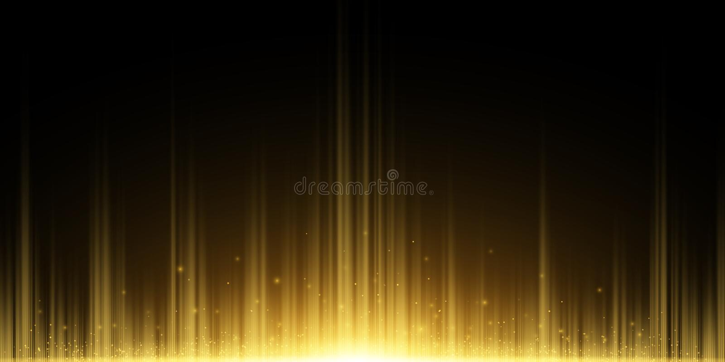 Абстрактная предпосылка золотых лучей r Зарево летая волшебной пыли золотое в темноте r бесплатная иллюстрация