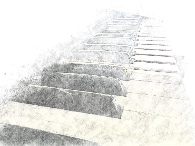 Абстрактная предпосылка картины акварели переднего плана рояля иллюстрация вектора