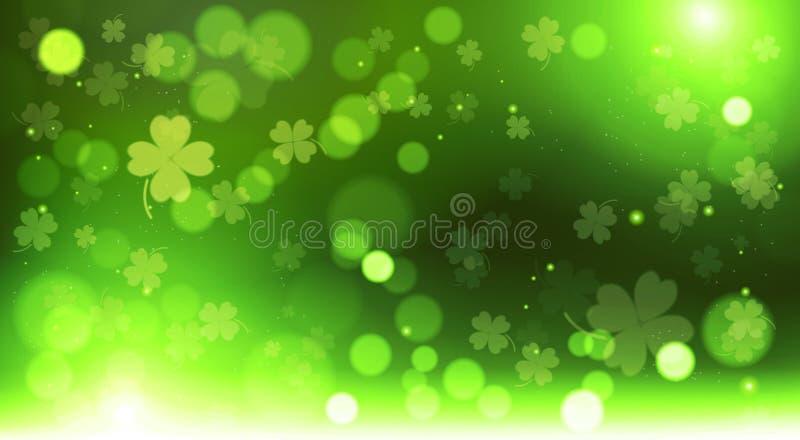 Абстрактная предпосылка клеверов шаблона нерезкости Bokeh, зеленая счастливая концепция дня St. Patrick иллюстрация штока