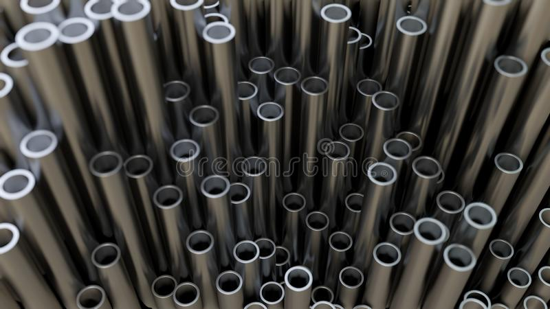 Абстрактная предпосылка конца вверх трубы металла иллюстрация вектора