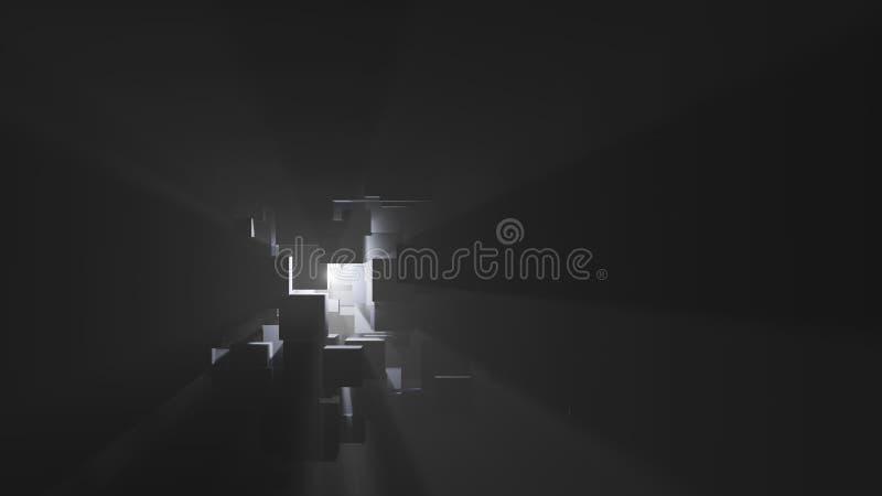 Абстрактная предпосылка коробок, световых лучей и тумана иллюстрация вектора