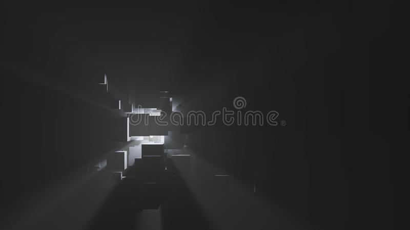 Абстрактная предпосылка коробок, световых лучей и тумана бесплатная иллюстрация