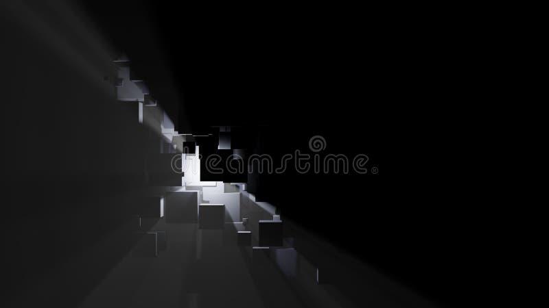 Абстрактная предпосылка коробок, световых лучей и тумана иллюстрация штока