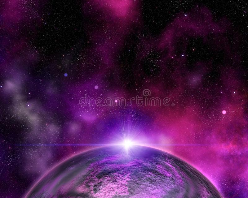 Абстрактная предпосылка космоса с выдуманной планетой иллюстрация вектора