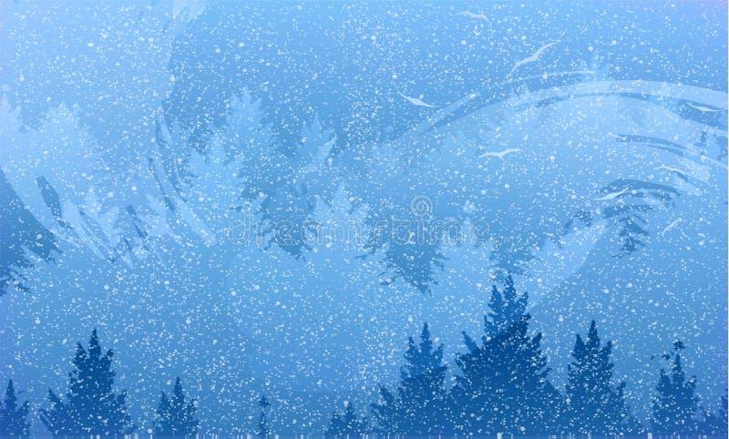 Абстрактная предпосылка леса и гор с летящими птицами иллюстрация вектора