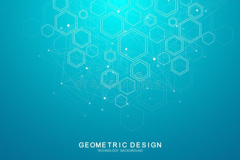 абстрактная предпосылка медицинская Концепция науки и вектора соединения Шестиугольный геометрический массив с динамический двига иллюстрация штока