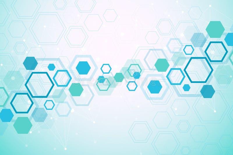 абстрактная предпосылка медицинская Концепция науки и вектора соединения Шестиугольный геометрический массив с динамический двига иллюстрация вектора