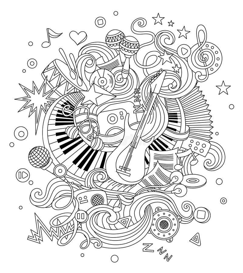 Абстрактная предпосылка музыки, коллаж с музыкальными инструментами Doodle чертежа руки, иллюстрация вектора иллюстрация вектора